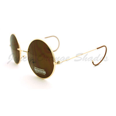 Circle Temple Sunglasses (Vintage Sunglasses Unique Curved Ear Temple Round Circle Thin Metal)