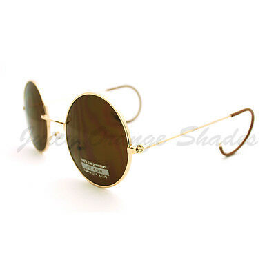 Vintage Sunglasses Unique Curved Ear Temple Round Circle Thin Metal (Curved Sunglasses)