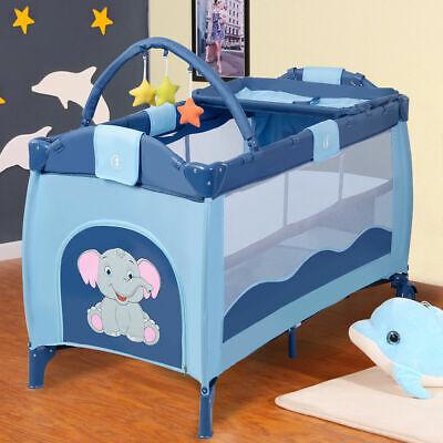 blue crib playpen playard bassinet