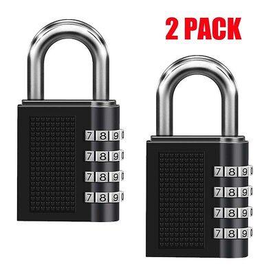 2x Combination Lock Resettable 4-digit Anti Rust Weatherproof Padlock Uswarehous