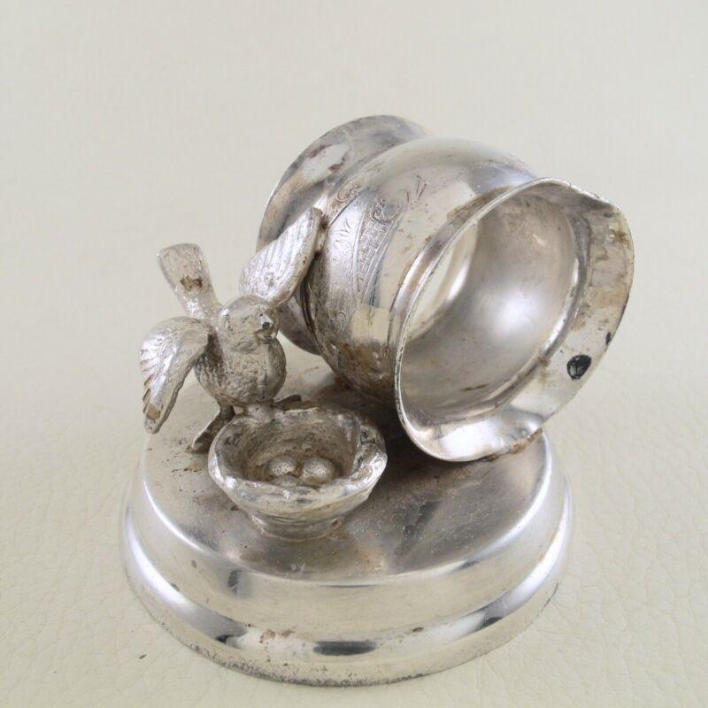 WEBSTER Silverplate Quadruple Plate Figural Napkin Ring Aesthetic Bird Nest #173