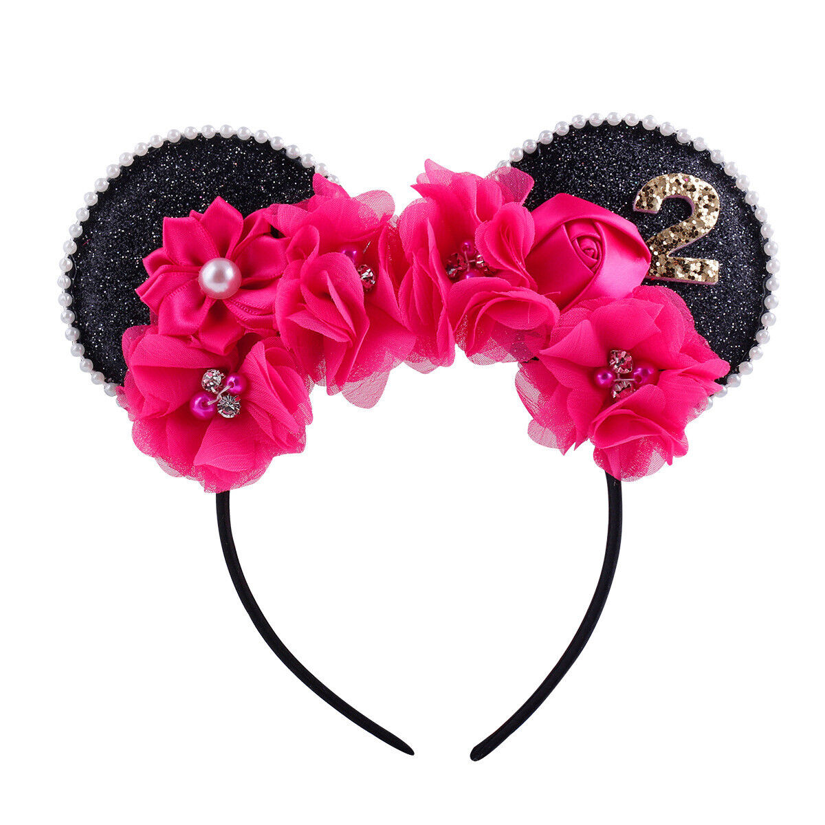 Minnie Mouse Ear Pearls Flower Headband For Girls 1st 2nd 3rd Birthday Costume