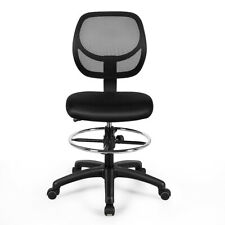 Mid Back Ergonomic Mesh Drafting Chair Office Armless ...