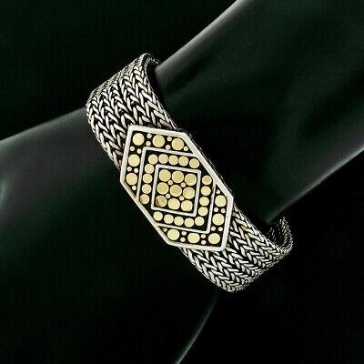 John Hardy Dot Sterling Silver & 18k Gold Adjustable Belt Buckle Chain Bracelet