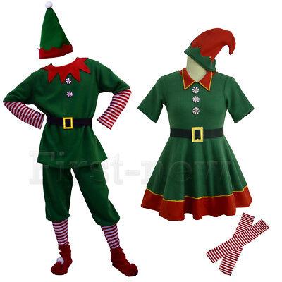 Santa's Little Helper Cosplay Costumes Unisex Adult Children Christmas Elf Dress - Adult Elf Costumes