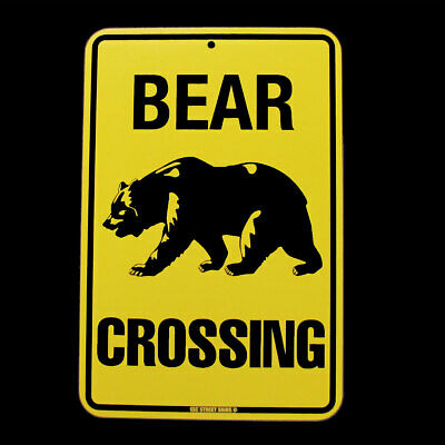 Metal Warning BEAR CROSSING Xing Street/Road Sign Rustic Bar/Pub/Home Wall Decor - Bears Decorations