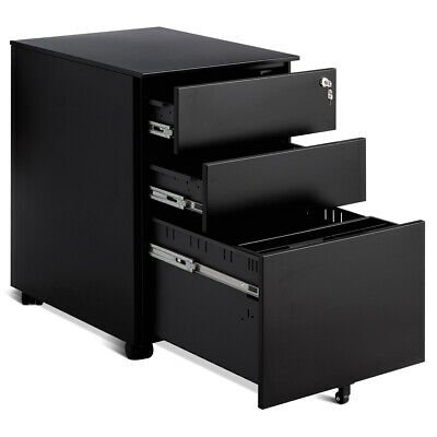 3 Drawer Filing Cabinet Locking Pedestal Under Desk Home Office Wwheels Black