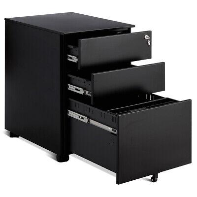 3 Drawer Filing Cabinet Locking Pedestal Under Desk Home Office Wwheels Black