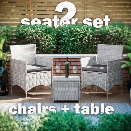 Garden Furniture - Rattan Garden Furniture Bistro Set 2 Seater Table Chair Outdoor Patio Grey