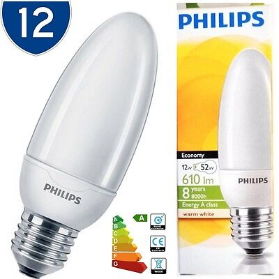 12x Philips Low Energy Saving Light Bulb 12w = 50w E27 CFL ES Candle Bulbs Lamps