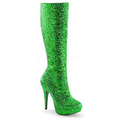 Green Glitter Poison Ivy Fairy Cosplay 70s GoGo Dancer Costume Boots Shoe Womans - Poison Ivy Costume Shoes