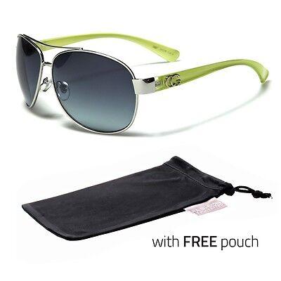 Green Designer Sunglasses - Large Classic Retro Fashion Aviator Vintage Designer Sunglasses Bla Green POUCH
