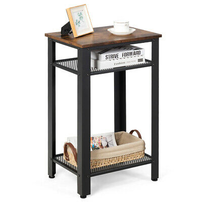 3-Tier Industrial Tall Nightstand Side End Telephone Table w/ Mesh Shelves