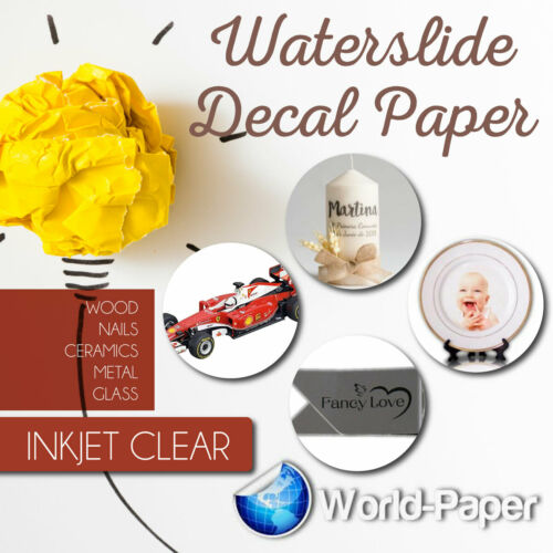 INKJET CLEAR  Waterslide decal  paper DYI -10 sheets 8.5 x 11 made in usa #1