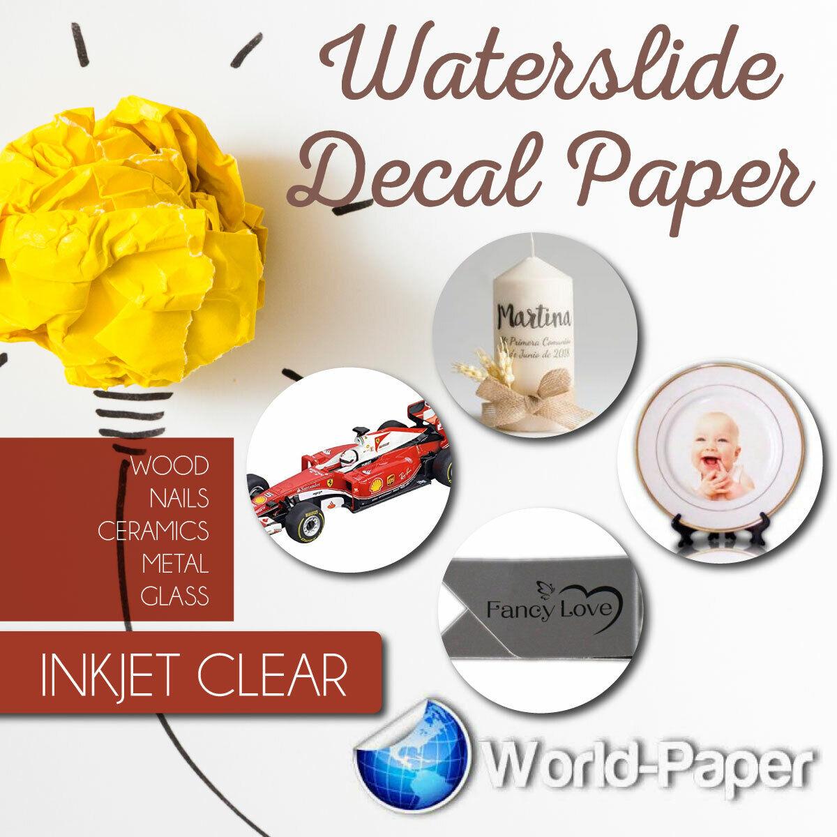 INKJET CLEAR  Waterslide decal  paper DYI -10 sheets 8.5 x
