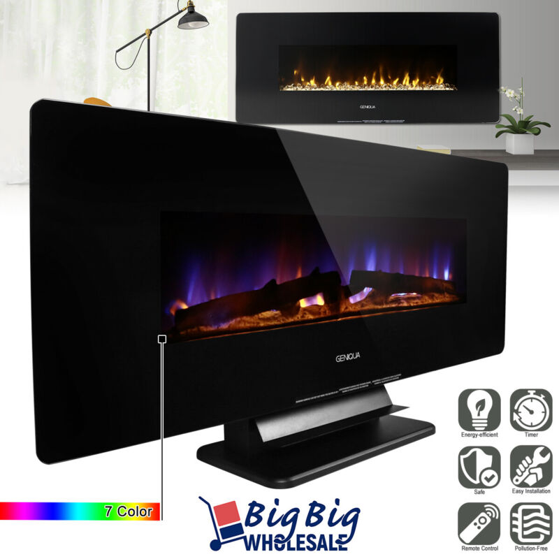 """1400W 42"""" Wall Mount/Free Standing Electric Fireplace Heater 7Color LED +Remote"""
