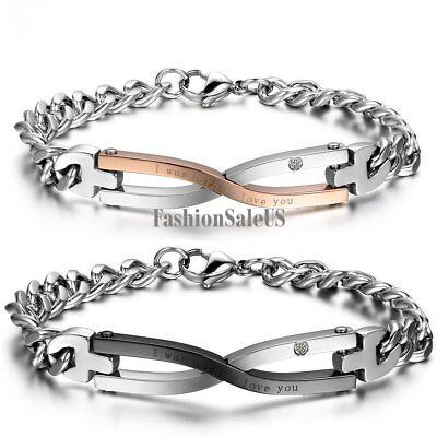 Stainless Steel Infinity Symbol Couples Men Women Bracelet Chain Valentine Gift