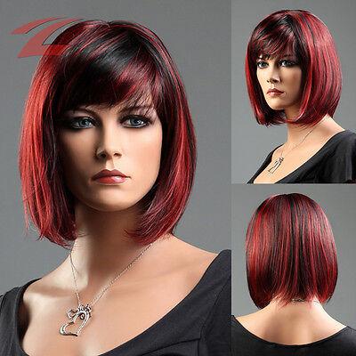 Damen Perücke Rot Haar Wigs wie Echthaar Weiblich Glatt Kurz Cosplay Halloween