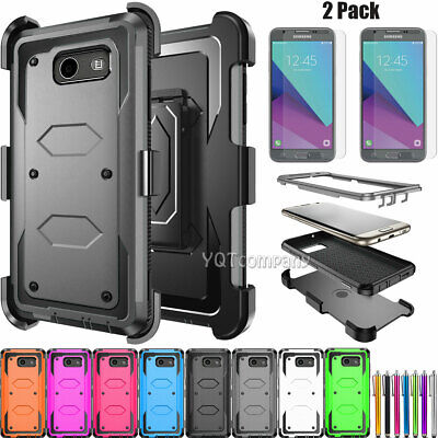 For Samsung Galaxy J3 2017/Emerge/Prime Silicone Clip Case Cover Tempered Glass