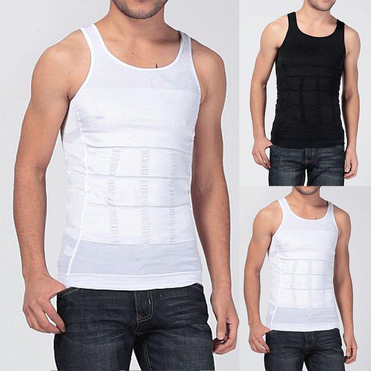 Men's Slim Body Shaper Tummy Belly Fatty Underwear Vest T Sh