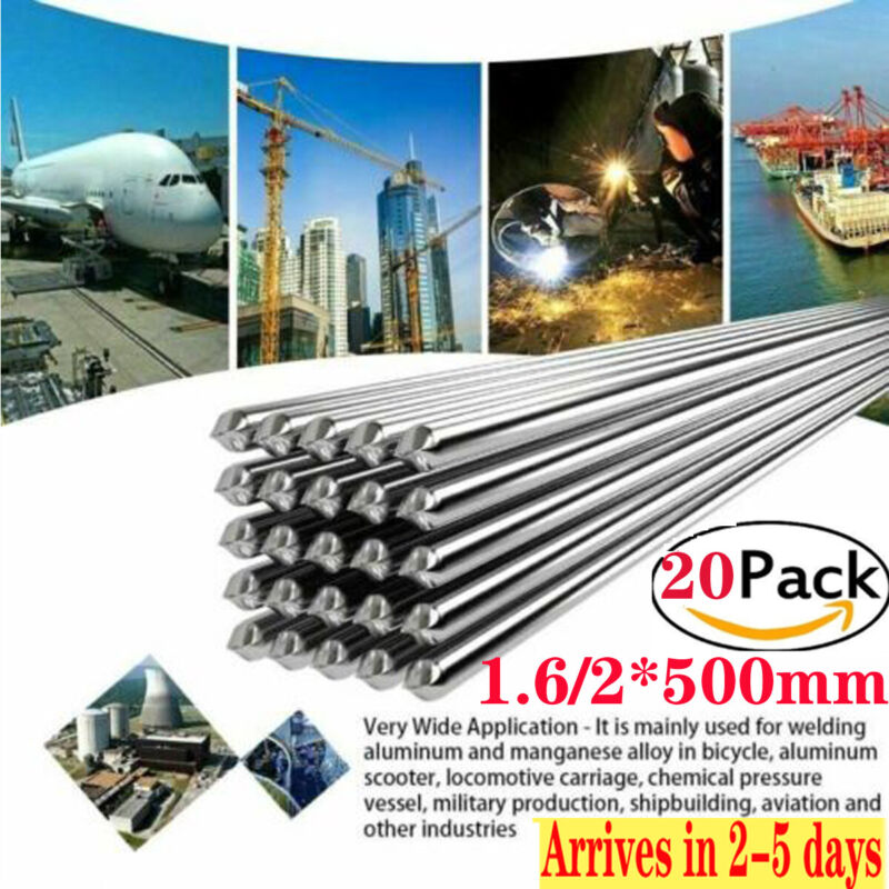 20pcs 1.6/2.0*500mm Wire Brazing Solution Welding Flux-Cored Rods High QualityUS