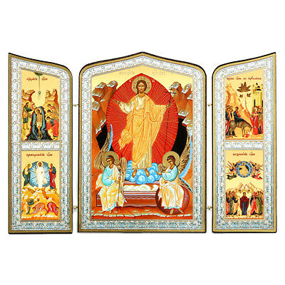Resurrection Of Christ Russian Wooden Icon Triptych 10  Baptism Transfiguration