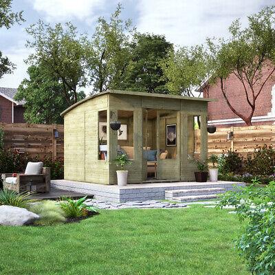 10 x 8 Pressure Treated Verano Wooden Garden Summerhouse with T&G Sunroom