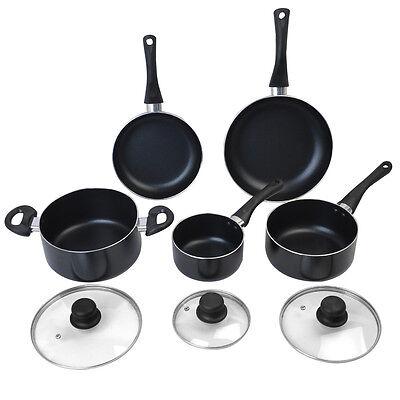 New 8 Piece Non Stick Cookware Set Aluminum Soft Handle Kitchen Cooking Black