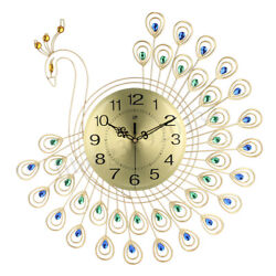 Modern DIY Large Silent Wall Clock Peacock Diamond Decor Home Office Room USA