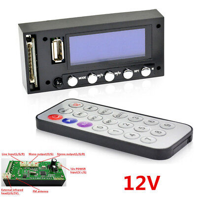 Car Bluetooth Stereo FM USB SD MMC WAV MP3 Player Audio Decoding Board WithCable