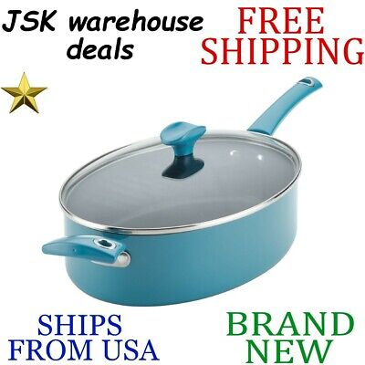 New RACHAEL RAY Cityscapes Nonstick Turquoise Porcelain Enamel Covered SAUTE PAN Covered Oval Saute Pan