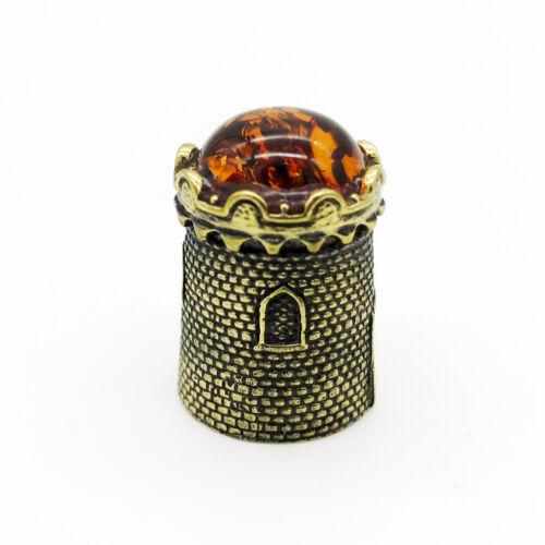 Thimble Castle Fortress Bronze Brass Baltic Amber IronWork Miniature #54. 609