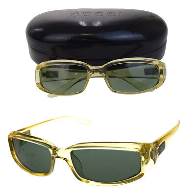 Authentic GUCCI GG Logos Sunglasses Eye Wear Plastic Ivoty Made In Italy 00B454