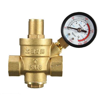 Dn20 Npt Adjustable Brass Water Pressure Regulator Reducer With Gauge Meter