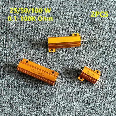 2pcs 25-100w Shell Power Aluminum Housed Case Wirewound Resistor 0.1 To 100k Ohm
