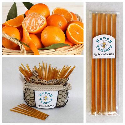 Honeystix Straws - 5 Pack ORANGE HONEY TEASERS Natural Honey Snack Sticks Honeystix Straws
