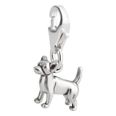 Charm / Anhänger Hund Chihuahua 1 mit Karabinerverschluß aus 925 Sterling Silber