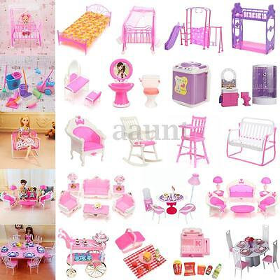 Miniature Dollhouse Toys Furniture Accessories For Barbie Bathroom Living Room