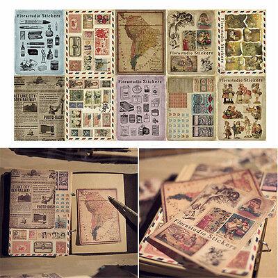 10 Sheets/Set Vintage Paper Stickers DIY Scrapbooking Album Diary Craft Decor