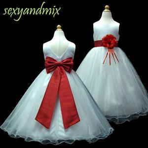 UKD59B White Floor-Length Wedding Flower Girls Dress Baby Christening 1 to 13 Y