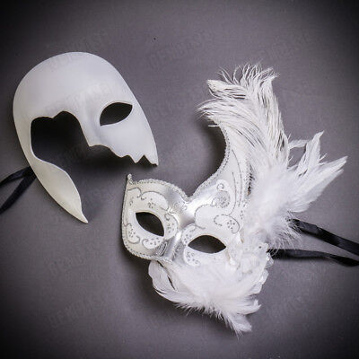 Half White Mask (Lux Silver Silky White Phantom Half Face Masquerade Masks w/ Feather for)