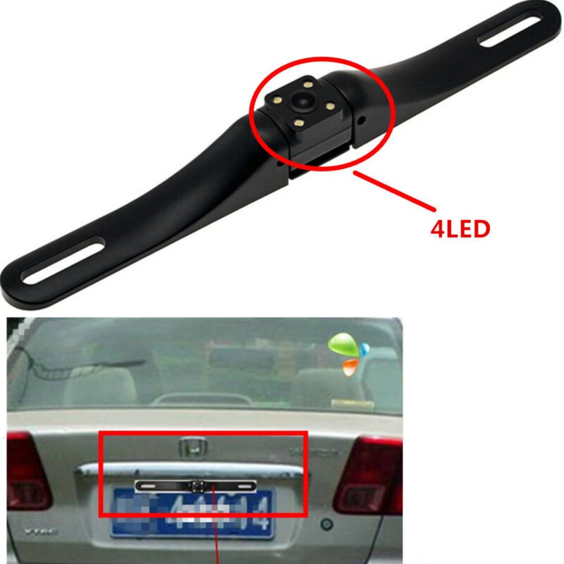 4LED License Plate IR Rear View Night Vision Reverse Parking Car Camera Kit