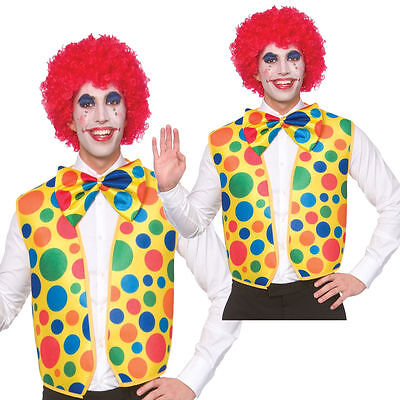 Male Carnival Costumes (Circus Clown Kit Spotted Waistcoat + Bow Tie Adults Fancy)