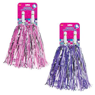 JUMBO Cheerleading Pom Poms Girls Dance Cheer Group Pink Purple Fancy Dress Lot ()