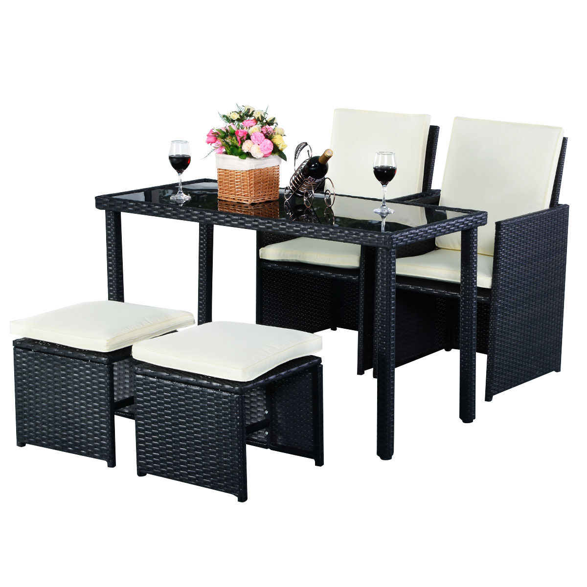 Garden Furniture - 5PC Outdoor Patio Garden Rattan Wicker Sofa Set Furniture Cushioned With Ottoman