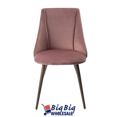 2x Dining Chairs Velvet Fabric Cushion Home Kitchen Furniture Seat Modern Pink 2