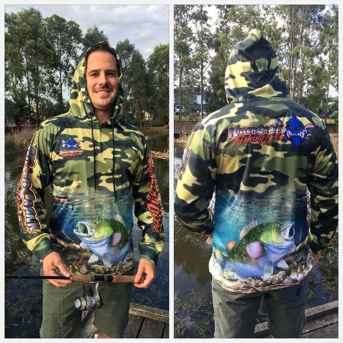 All Mens Sizes Kids 6 /& 12 New Killer Crank Murray Cod Fishing Shirt With Hood