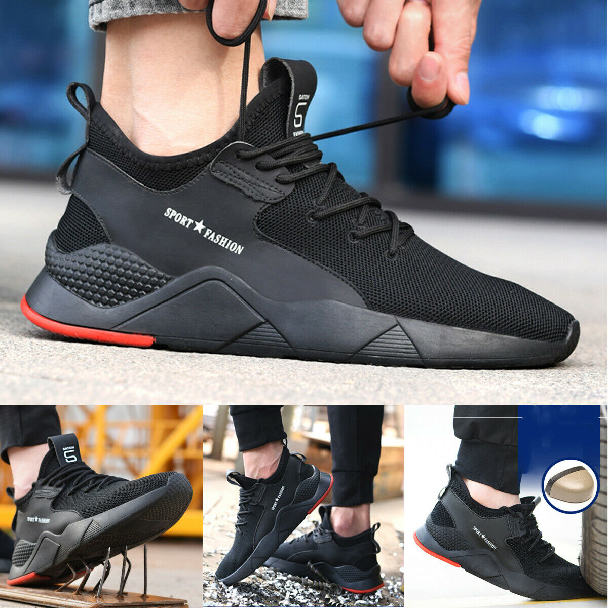 newest collection more photos special section Mens Lightweight Steel Toe Safety Work Shoes Indestructible Sports ...