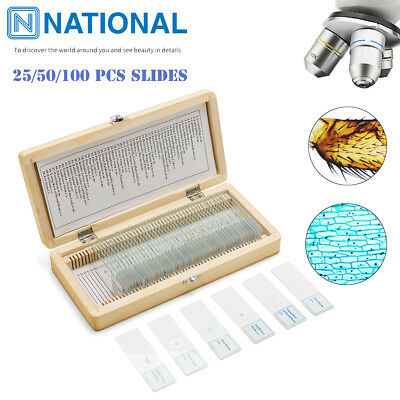 25/50/100Pcs Prepared Microscope Slides Professional Plant Animal Specimen Glass](Prepared Slides)