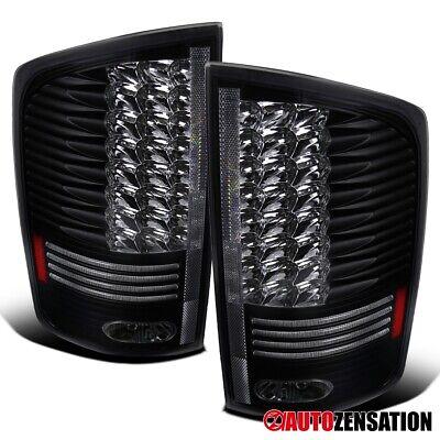 For 2002-2006 Dodge Ram 1500 2500 3500 Black LED Tail Lights Brake Lamps Pair